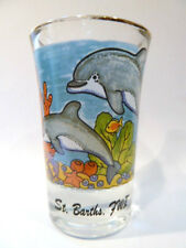 ST.BARTH'S,FWI DOLPHIN FLAIR W/GOLD RIM SHOT GLASS
