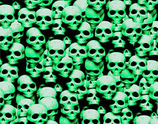 "1 LARGE STICKER BOMB SHEET GREEN SKULLS JDM HONDA DECAL 24"" x 48"" 3M WRAP VINYL."