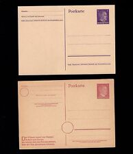 Germany TWO Hitler Head 6p Wartime Printing Shades 1 w/Slogan Postal Cards 6s