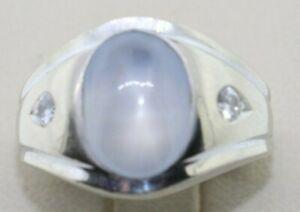 14K White Gold Men's Moonstone Ring With Diamonds