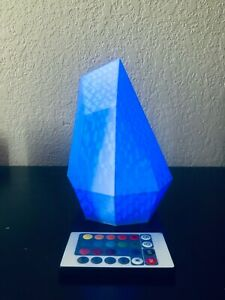 SciFi Crystal Table Lamp with RGB LED and Remote, Modern Home Decor, 3D Printed