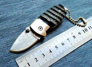Mini Drop Point Folding Knife Pocket Hunting Wild Combat Tactical Damascus Steel