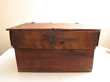 VTG ANTIQUE WOODEN BOX CRATE TRUNK LIFT TOP LEATHER HINGES PINE SQUARE NAILS