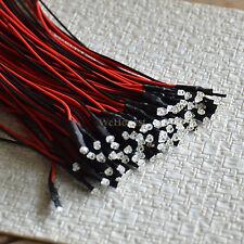 20pcs précâblé 1.8mm Led pré-câblé blanc chaud froid rouge bleu vert pre wire