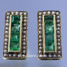 ART-DECO style Genuine 9ct 9K Yellow Gold NATURAL Emerald & Pearl Stud Earrings