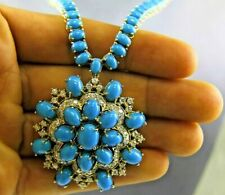 70 Ct Oval Blue Turquoise & Diamond Tennis Necklace Pendant 14K Yellow Gold FN