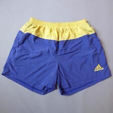 "ADIDAS 34-36"" 1990s Nylon Shell Swimming Swim Vintage Blue Yellow Shorts XL E910"