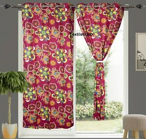 Indian Door Windows Home Curtains Cotton Pink Floral Curtain 2 Panels Valance US