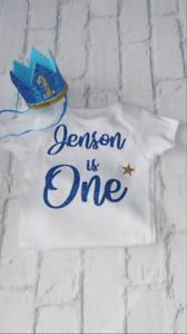Personalised Boys First 1st Birthday Outfit Cake Smash Crown Hat Bright Blue One