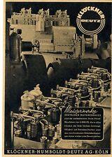 KLÖCKNER - HUMBOLDT - DEUTZ AG Köln Motorenbau Historische Reklame von 1941