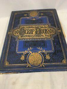 Victorian Blue & Gilt Cover Scrapbook, Greeting Cards, Scraps, Postcards,