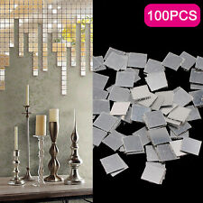 100 PCS MIRROR TILE WALL STICKER 3D DECAL MOSAIC ROOM DECOR ART DIY STICK ON FTK