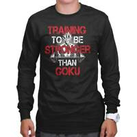 Stronger Than Goku Super Saiyan Anime TV Show Long Sleeve Tshirt Tee for Adults