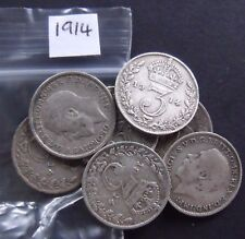 1914 WWI Era GEORGE V SILVER THREEPENCE. Collectable Grade.  3d.