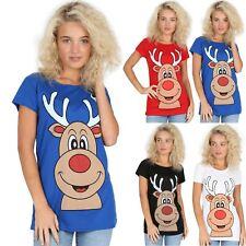 Ladies Womens Cap Sleeves Smily Reindeer Red Nose Ear Christmas Tee Top T Shirt