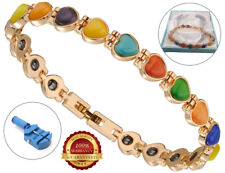Ladies Health Bracelet Multi Colour Faux Gemstones Healing Bangle Arthritis Pain