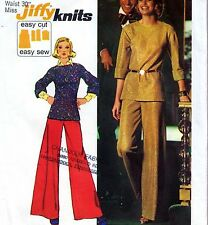 """EASY Vintage 70s WIDE LEG PANTS & TOP Sewing Pattern W30"""" Size 14 Retro PALAZZO"""