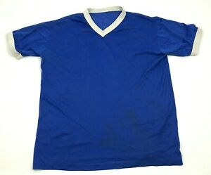 VINTAGE Dry Fit Shirt V-neck Jersey Men's Size Medium M Royal Blue Running Top