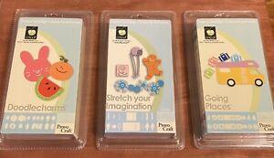 3 Sealed Cricut Cartridges- Going Places, Stretch Your Imagination, Doodlecharms