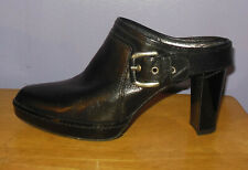 Gorgeous Stuart Weitzman Black Leather Almond Toe Back Strap Mules! Size 6