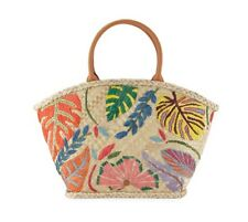 NEW Tory Burch Leaf Appliqué Straw Tote NWT/NIB Summer Floral Beach Bag
