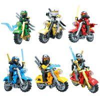 6PCS Ninjago and motorcycle Sets Kai Jay Cole Zane Nya Lloyd Lego bricks Kid Toy