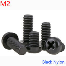 M2 x 0.4 2mm Black Nylon Pan Round Head Phillips Screws Plastic Machine Screws