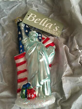 Bella's Garden Statue of Liberty Christmas Ornament Glass American Flag Glass