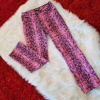 Bubblegum USA Womens Stretch Jeans - Pink Snakeskin Print - 13/14-Best Fit Ever.