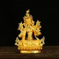 BLESSED TIBETAN BUDDHA GOLD GILT STATUE:FEMALE PROTECTOR SEVEN EYES WHITE TARA =