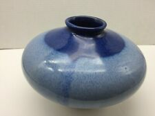 Pigeon River Pottery Co., Nc. Signed and Dated~Blue Drip-Glaze Flower Vase.