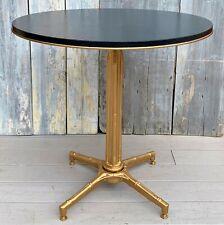 Vintage Mid-Century Kessler Bistro Table w/ Faux Slate on Gilt Faux Bamboo Base