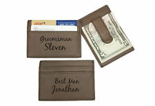 12 Personalized Engraved Leather Money Clip Brown Groomsman Best Man Usher Gift