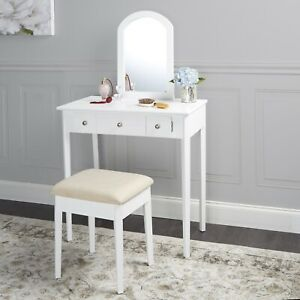 Mirror Vanity with Bench - Powered Outlet and 2-USB Ports, White