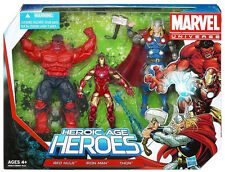 MARVEL UNIVERSE Heroic Age Heroes 3 Pack_THOR_IRON MAN_RED HULK 3 ¾ inch figures