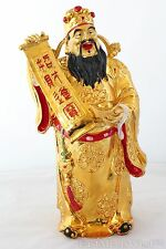 "18"" Gold Chinese Feng Shui Wealth Lucky God of Wealth Figurine"