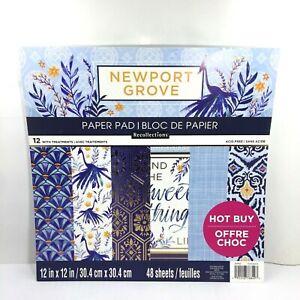 Recollections Paper Pad 12x12 Newport Grove Scrapbook 48 Sheets Blues
