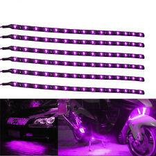 6 Pcs Flexible 12V Purple 15LED SMD Waterproof Car SUV Grille Decor Lights Strip