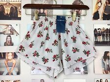 New brandy melville Red Beige Floral high waisted ruffled trim ross shorts Nwt