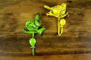 2 Colorful Decorative Bird Wall Hooks Green (Peace) & Yellow (Love)