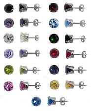 Any Color 925 Sterling Silver Birthstone Round CZ Stud Earrings Kids, Lady, Man