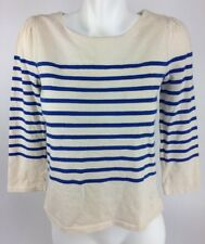 Juicy Couture Women's 3/4 Sleeve Boat Neck Top Sz. S Cream  Blue Striped