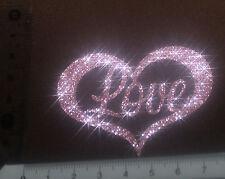 Coeur Love  rose patch termocollant à customiser hotfix Glitter 7 cm