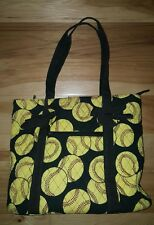 N. Gil Baseball Large Quilted Tote Bag yellow black EXCELLENT