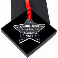 Personalised Bauble - Christmas At The - Acrylic Star Tree Decoration