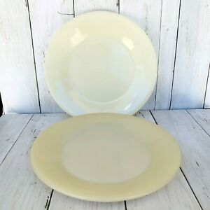 """Vintage Fire King 9"""" Ivory Dinner Plates Smooth Set Of Two"""