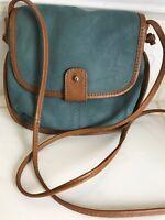 Nino Bossi Women's  Leather Crossbody Bag Blue with Brown Trim Size OSFA
