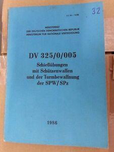 NVA DDR Dienstvorschrift Schießübungen mit Schützenwaffen und der Turmbewaffnung