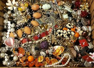 HUGE 13+lbs Vintage Mod Jewelry Lot Some Signed Necklaces Rhinestone 925 +