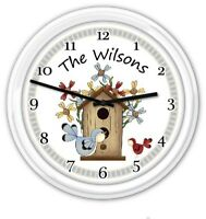 Birdhouse Personalized Wall Clock - Country Garden Cottage - GREAT GIFT